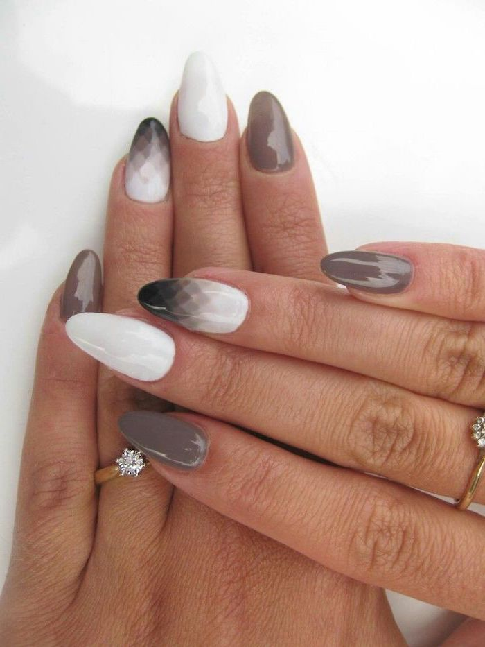 grey black and white nail polish, cute easy nail designs, geometric shapes drawn on two nails
