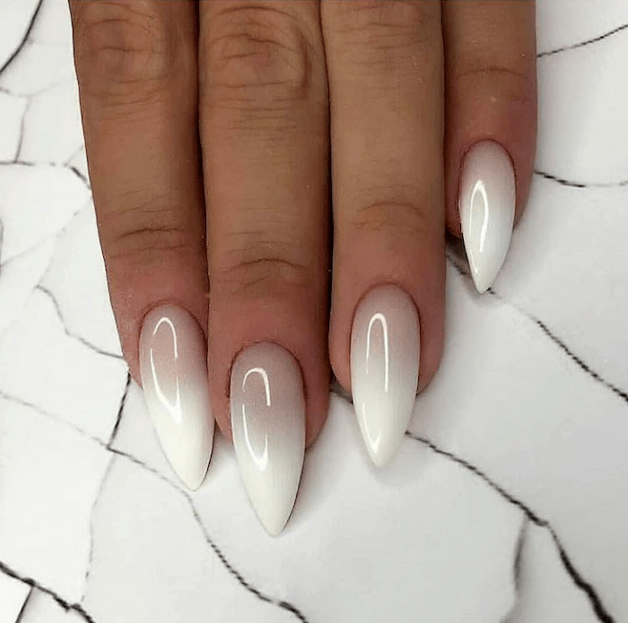 nude and white ombre nail polish, cute easy nail designs, long stiletto nails