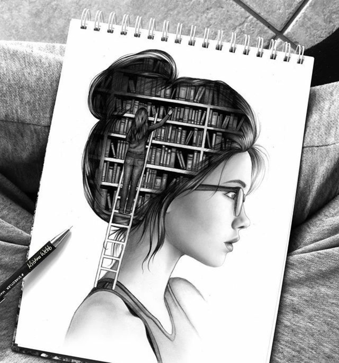 girl drawing, black and white sketch, girl with a library, inside her head, white sketchbook