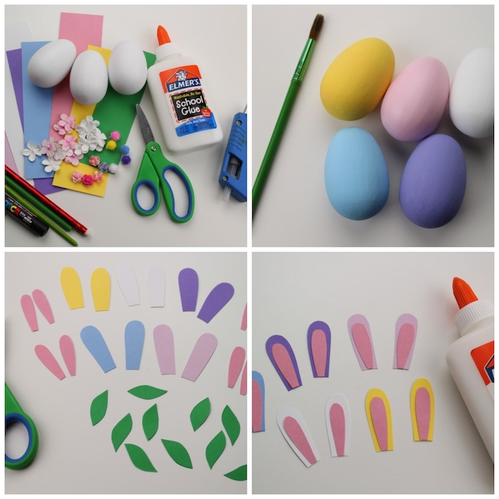 step by step, diy tutorial, bunny eggs, dying eggs with shaving cream, different dyed eggs, glue gun