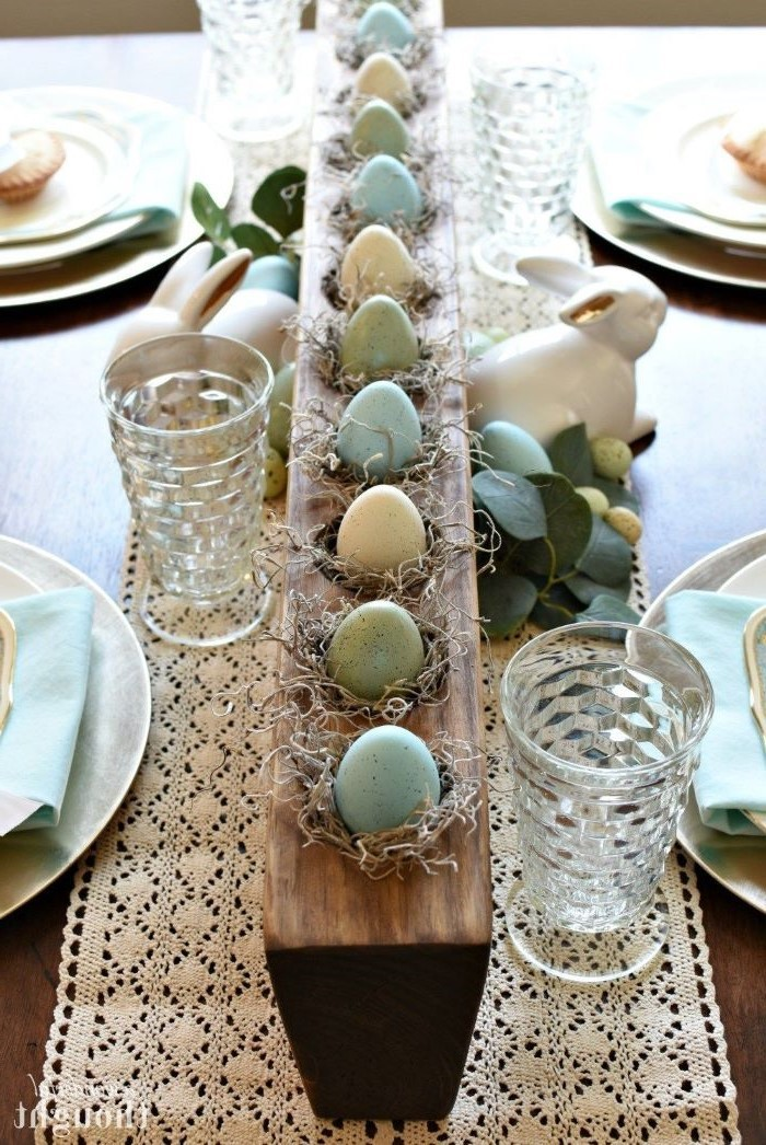 white vintage table runner, easter table settings, dyed eggs, on a wooden board