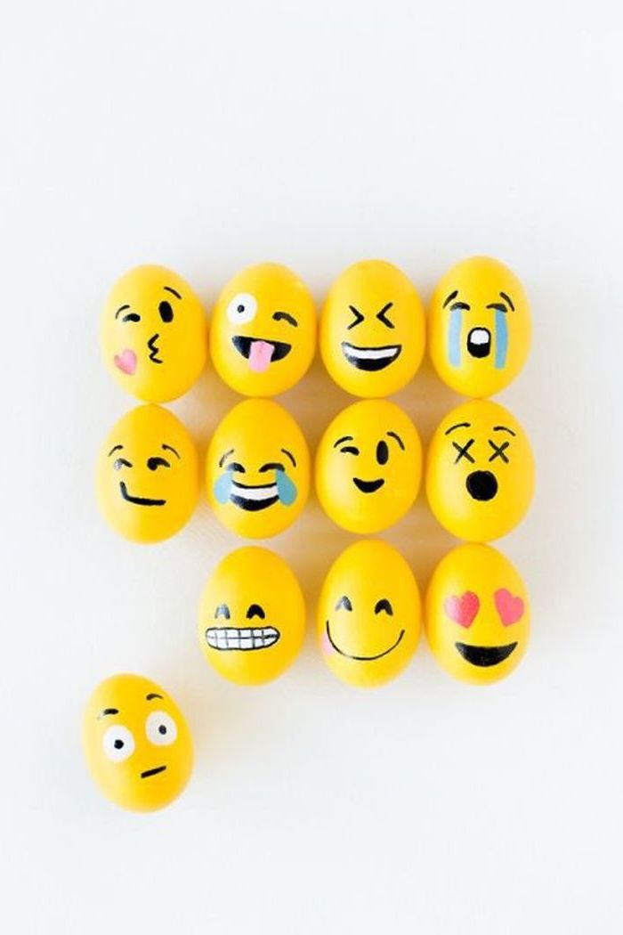 yellow emoji eggs, diy tutorial, how to color easter eggs, different faces, on a white background