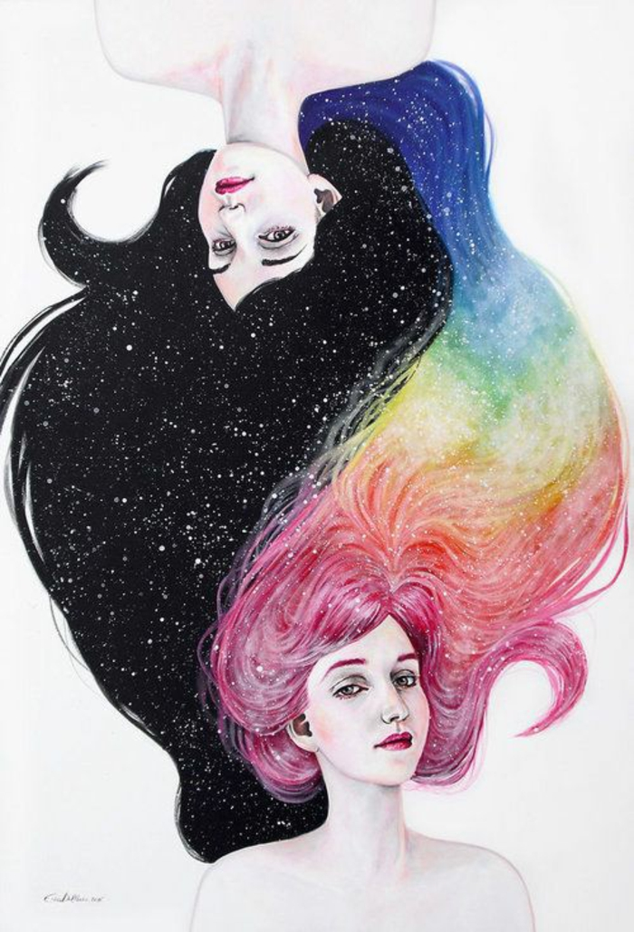 drawing of two girls, with long hairs, yin and yang, black and colourful hairs, how to draw a girl easy