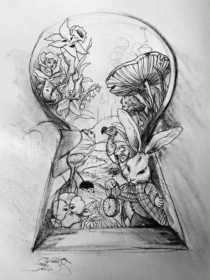 alice in wonderland, through the key hole, black and white, pencil sketch, things to draw when bored
