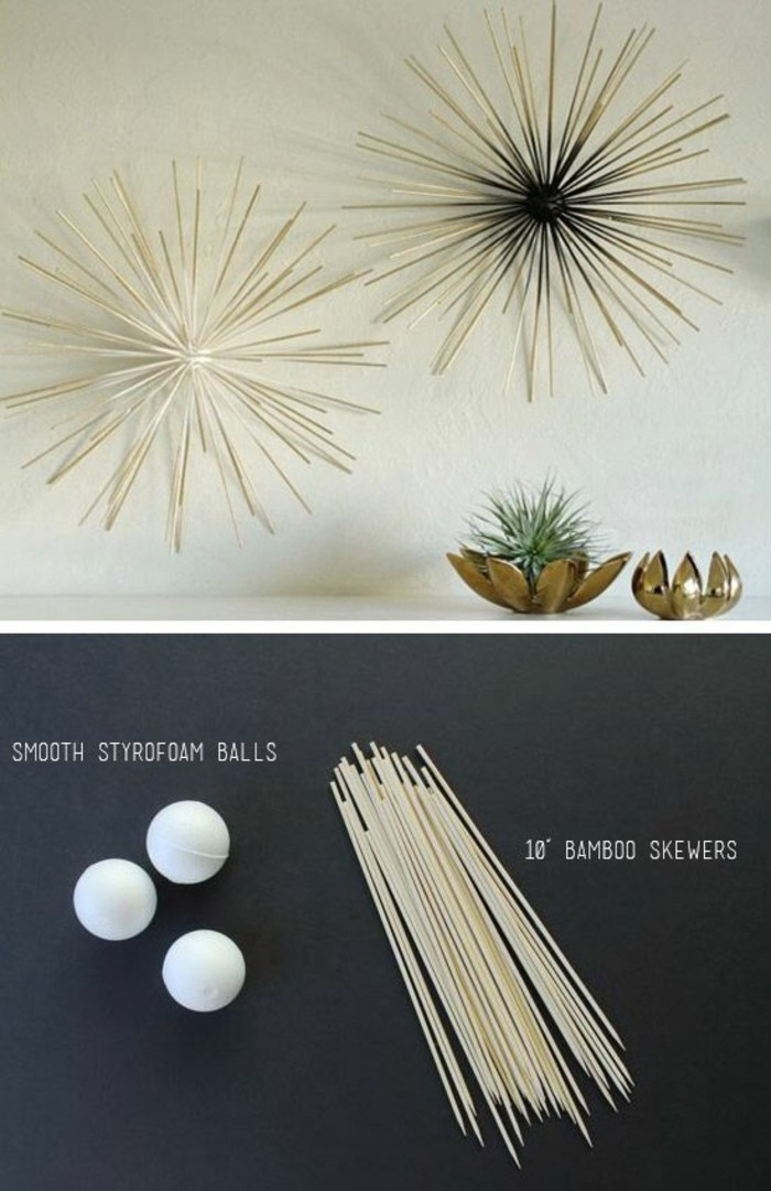 bamboo skewers, styrofoam balls, forming abstract shapes, living room wall ideas, hanging on a white wall