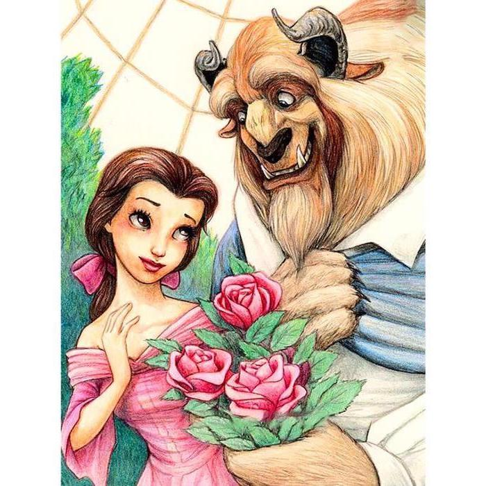 beauty and the beast inspired, coloured pencils sketch, things to draw when bored, pink dress, pink roses