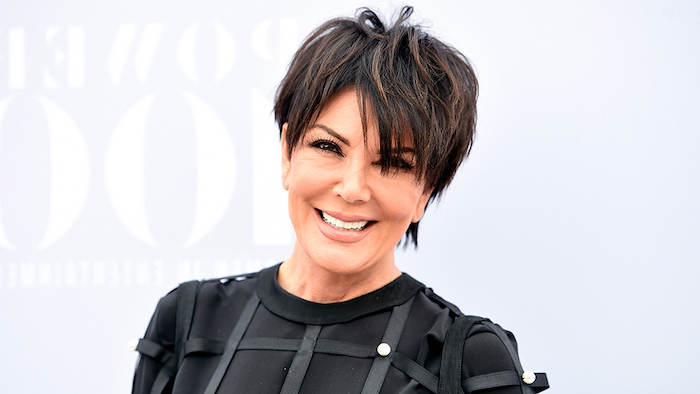 cute hairstyles for short hair, kris jenner, black dress, brown hair, white background