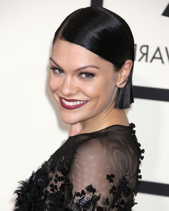 cute short haircuts, jessie j wearing a black, lace dress, black hair