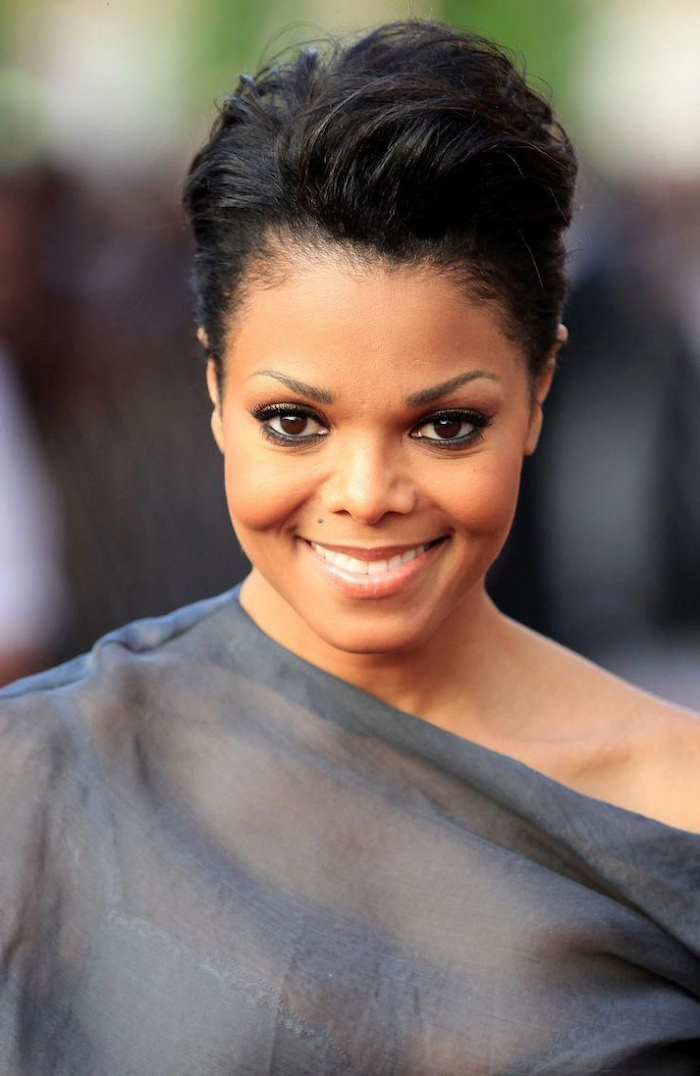 janet jackson, grey dress, black hair, cute hairstyles for short hair