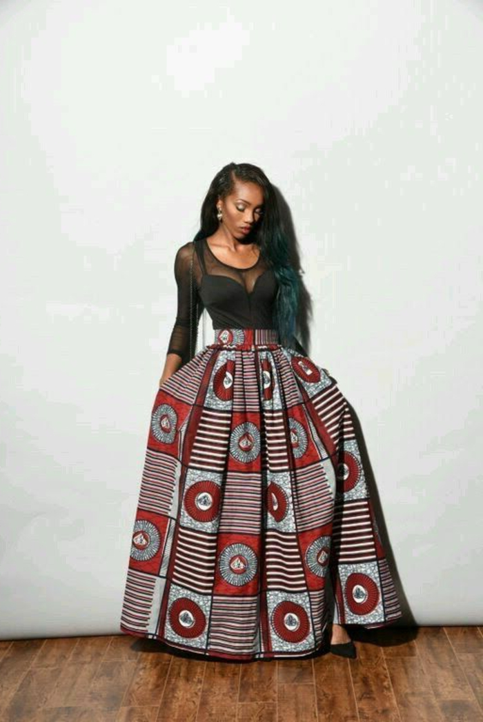 black lace top, long skirt, wooden floor, african attire, white background, long black hair