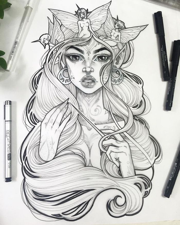 cute drawing ideas, black and white, pencil sketch, of a woman, with long wavy hair, fairies in her hair