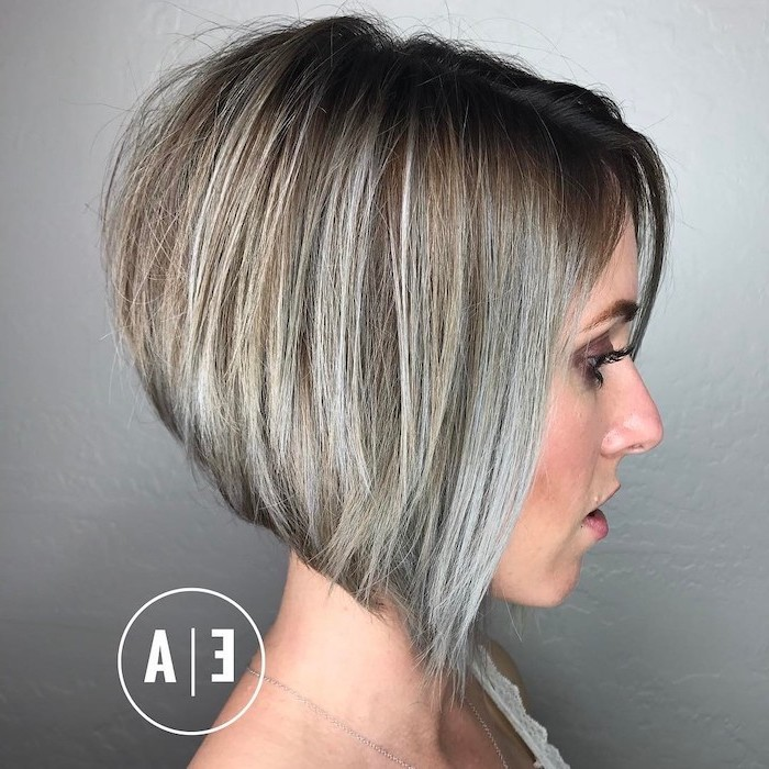 blonde hair, grey highlights, medium short haircuts, asymmetrical bob