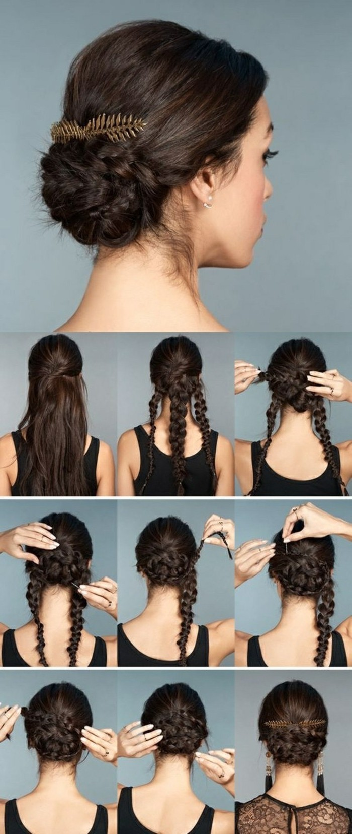 black hair, in a low updo, braided bun, updos for medium hair, golden hair accessory, step by step, diy tutorial
