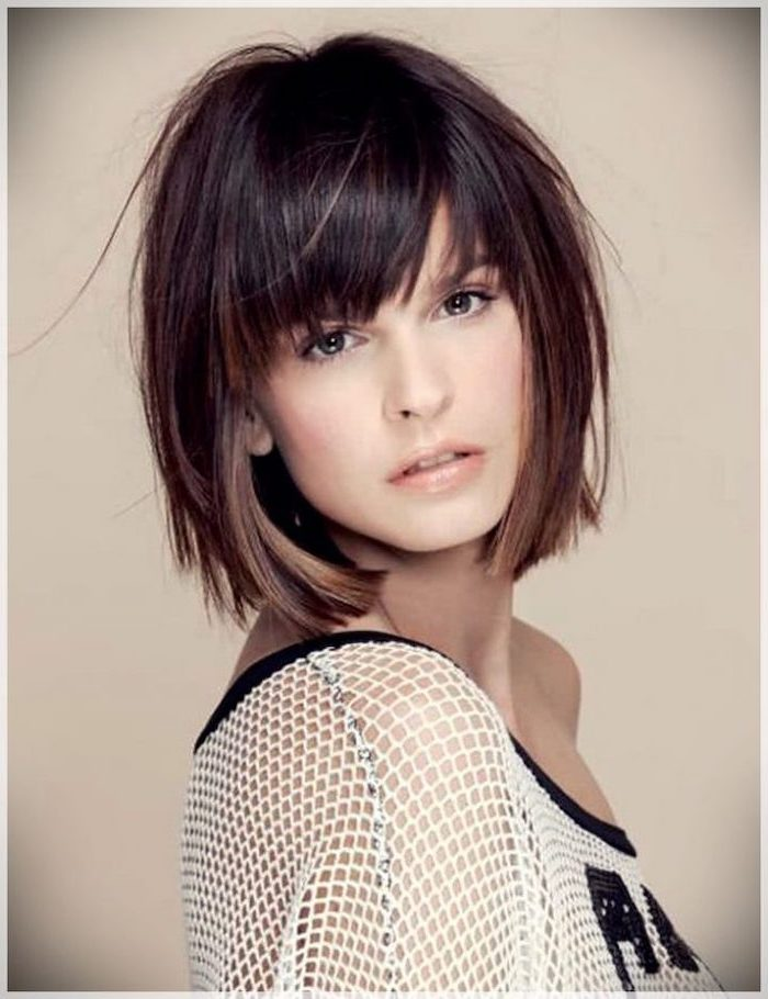 brown hair with bangs, short haircuts for older women, white lace top