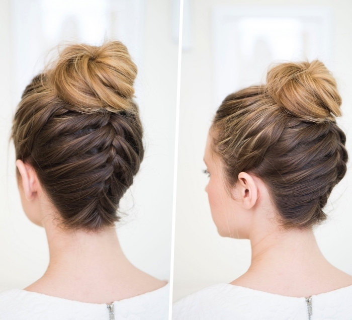 side by side pictures, brown hair, with blonde highlights, braid and a bun, easy hairstyles for long hair, diy tutorial