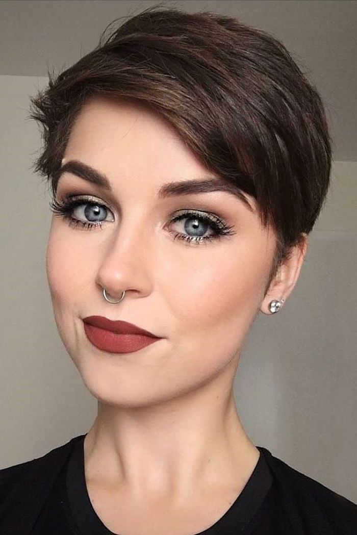 red lipstick, short haircuts for older women, brown hair, pixie cut, black top