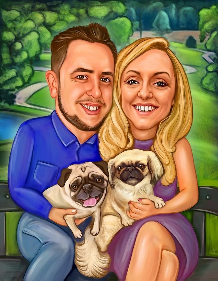 caricature picture, couple sitting on a bench, holding two dogs, housewarming ideas