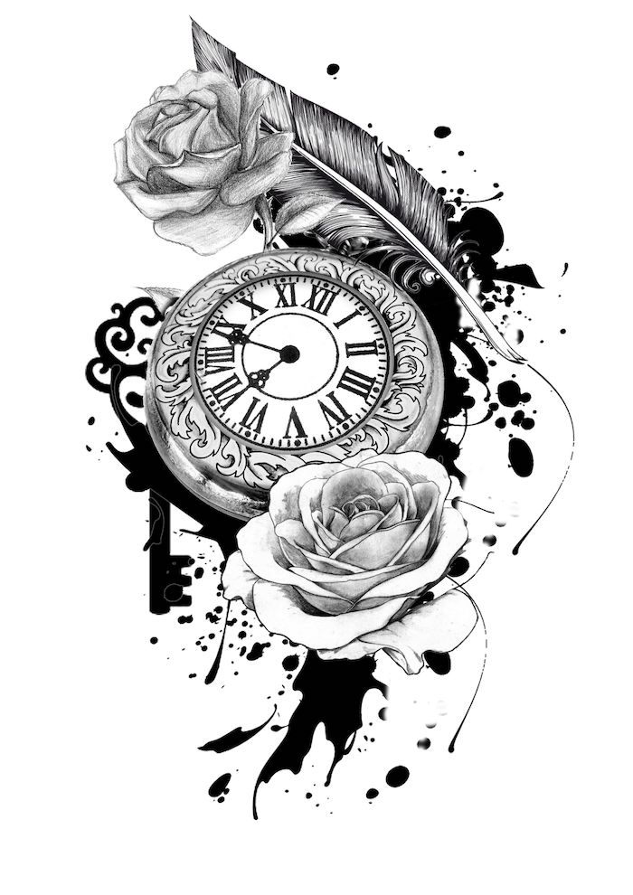 black and white sketch, pocket watch, roses around it, roman numerals, white background
