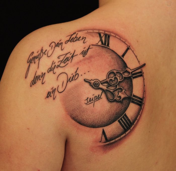 clock and a motivational quote, shoulder tattoo, birthday tattoos, black background