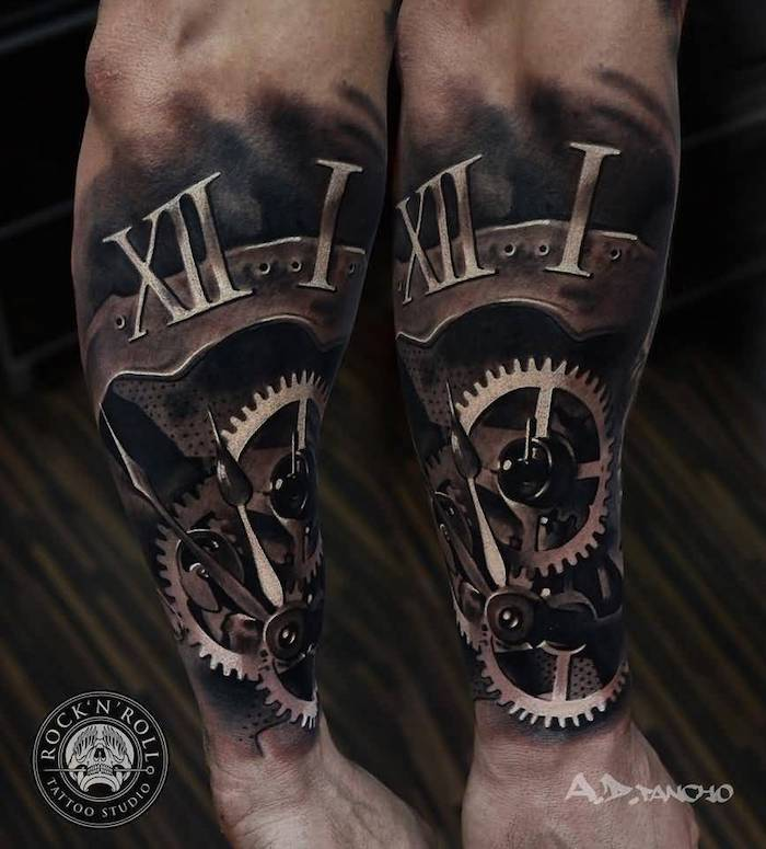 clock and its mechanism, wooden floor, birthday tattoos, side arm tattoo