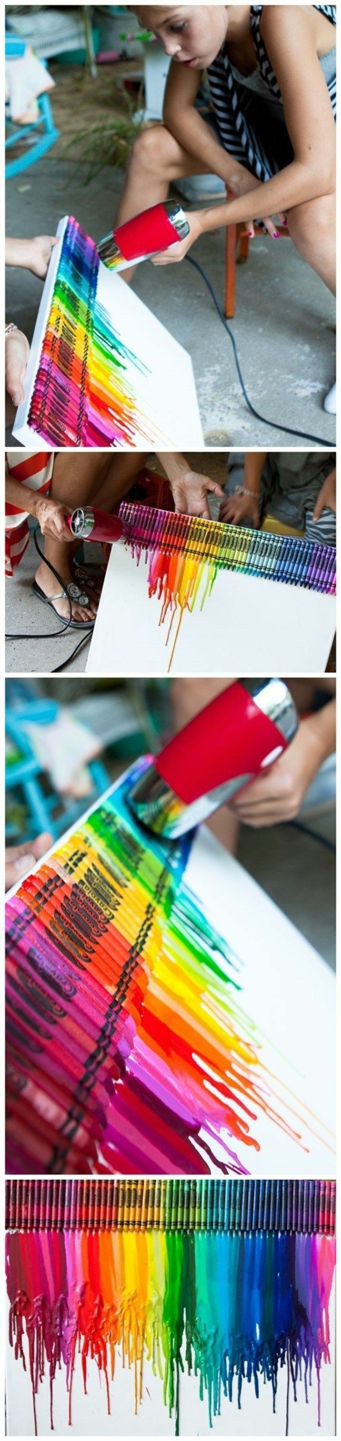 step by step, diy tutorial, melting crayons, cool art designs, colourful crayons, on a white canvas