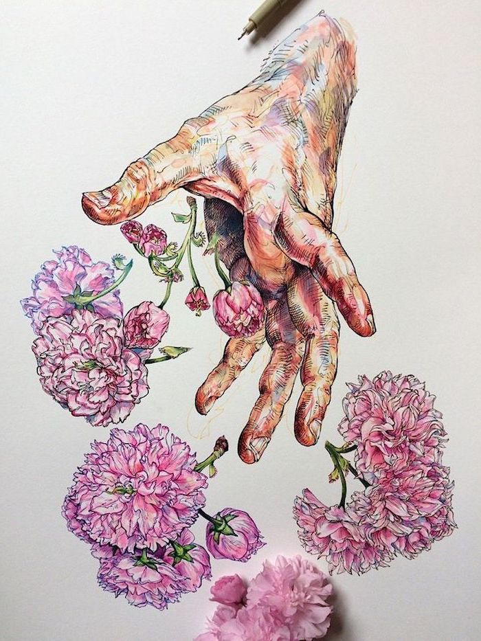 colourful sketch, of a hand, throwing pink flowers, white background, easy drawings for beginners