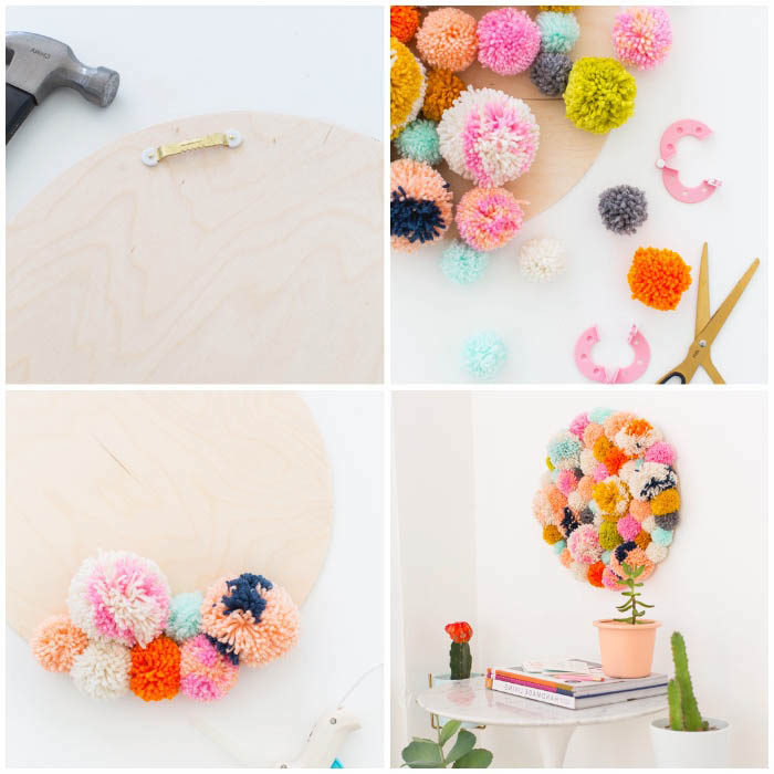 colourful pom poms, glued to a wooden board, hanging on a white wall, girl room decor ideas