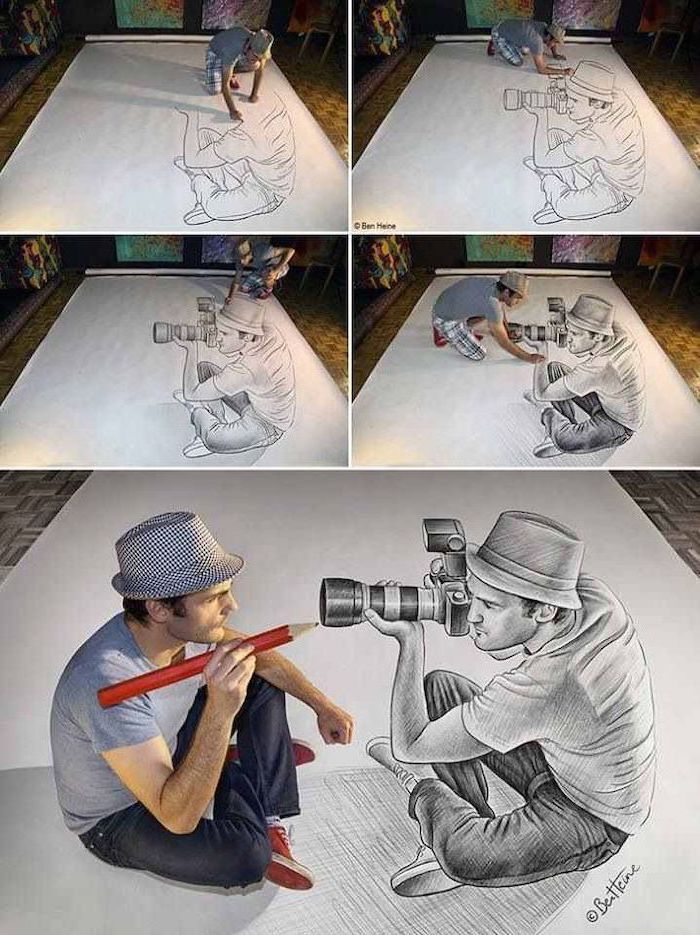 what to draw when bored, 3d art, drawing of a man, sitting down, taking pictures, large photo camera