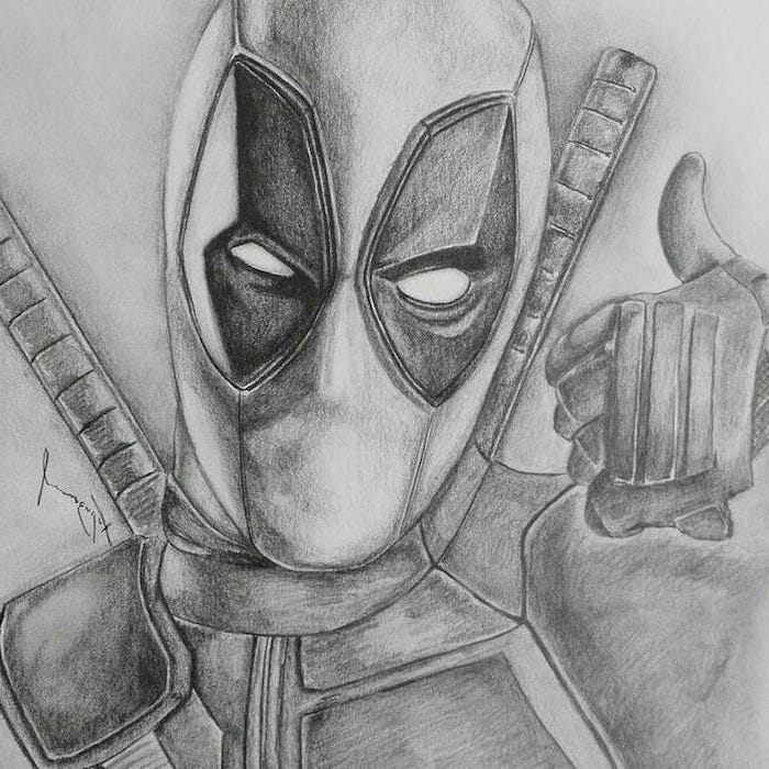 deadpool inspired, black and white, pencil sketch, what to draw when bored, pencil portrait