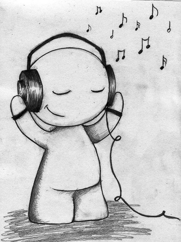 cute creature, listening to music, black and white, pencil sketch, what to draw when bored