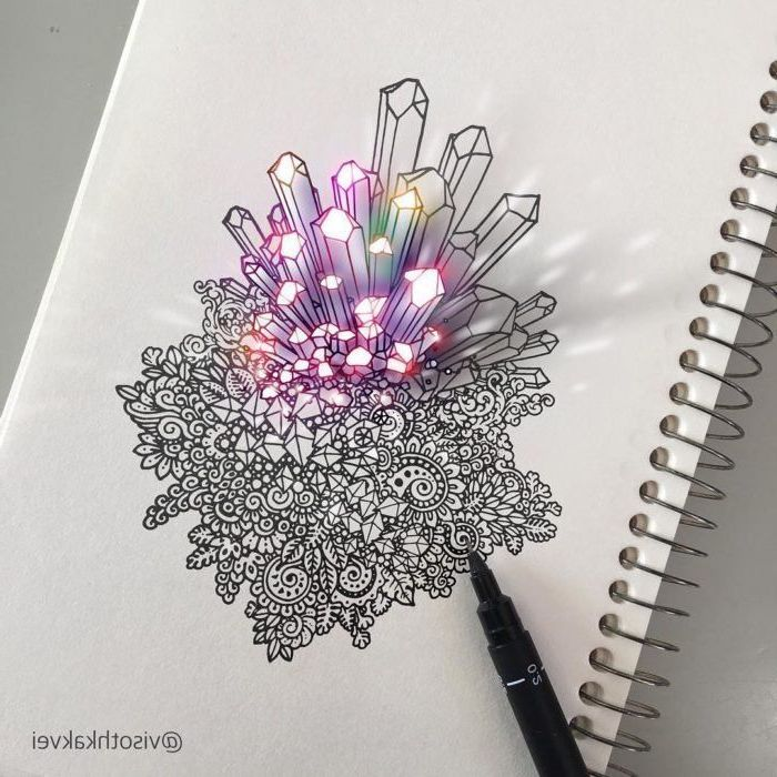 black and white, marker doodle, colourful crystals, 3d art, easy drawing tutorials, white background