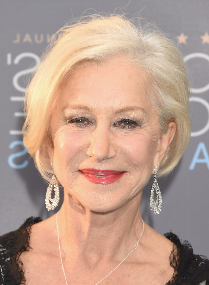 short to medium hairstyles, dame helen mirren, black lace dress, blonde hair