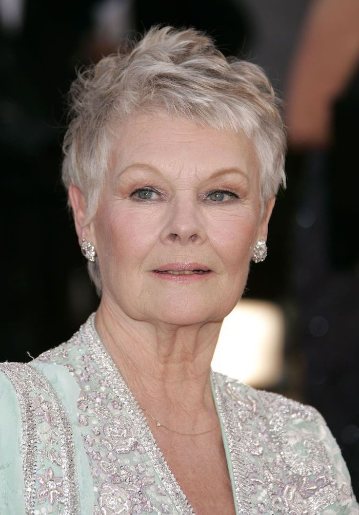 short haircuts for women, dame judi dench, green lace dress, buzz cut, silcer grey hair