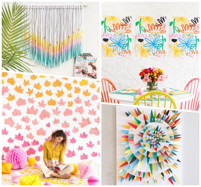 collage of pictures, diy canvas art, colourful wall art ideas, diy tutorials, macrame and paper wall art