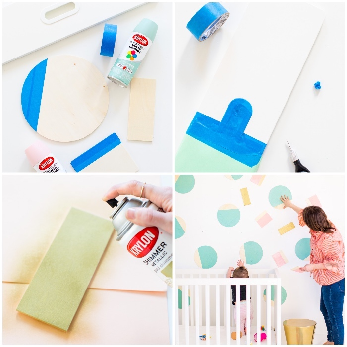 step by step, diy tutorial, bedroom wall decor, wooden pieces, painted with spray paint, over the baby crib