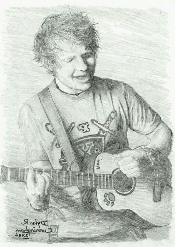 ed sheeran singing, playing the guitar, cute simple drawings, black and white, pencil sketch
