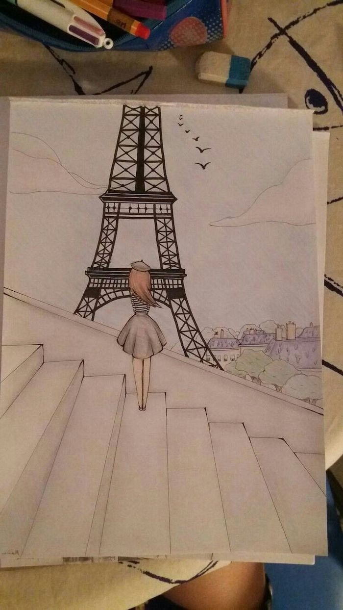 girl standing on stairs, looking at the eiffel tower, cute simple drawings, coloured pencils drawing