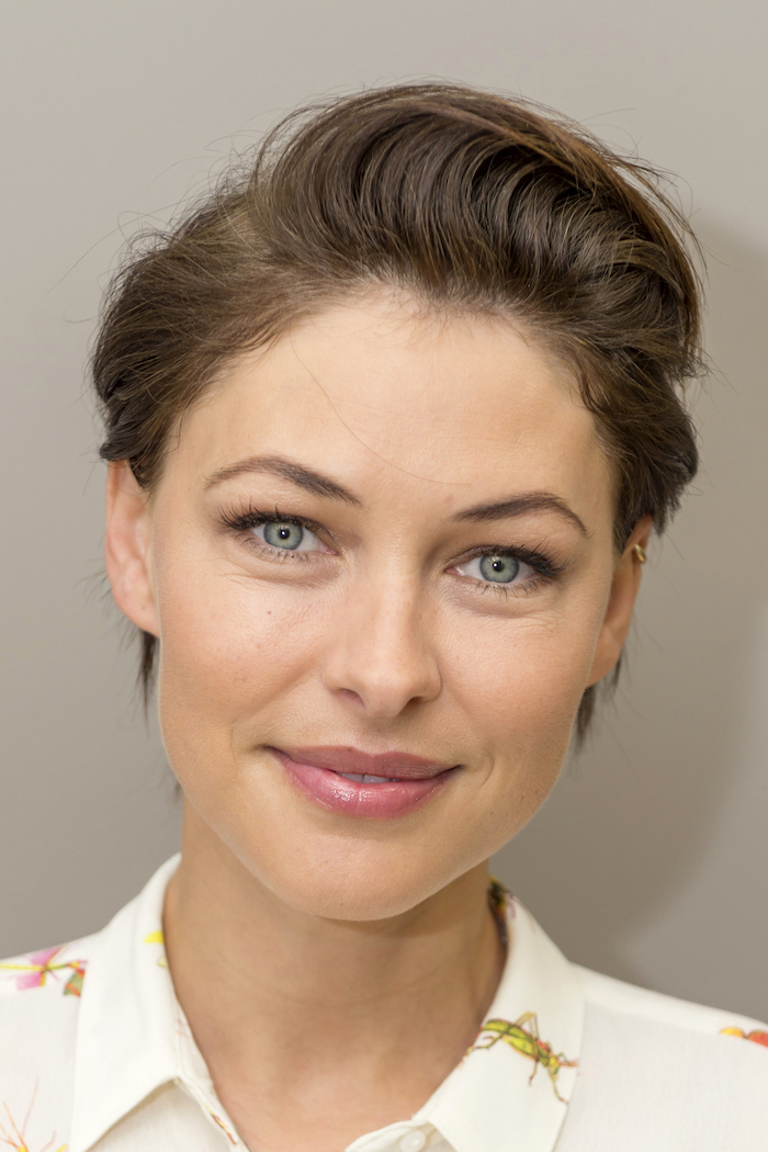 short pixie cuts, emma willis, brown hair, white shirt, blue eyes