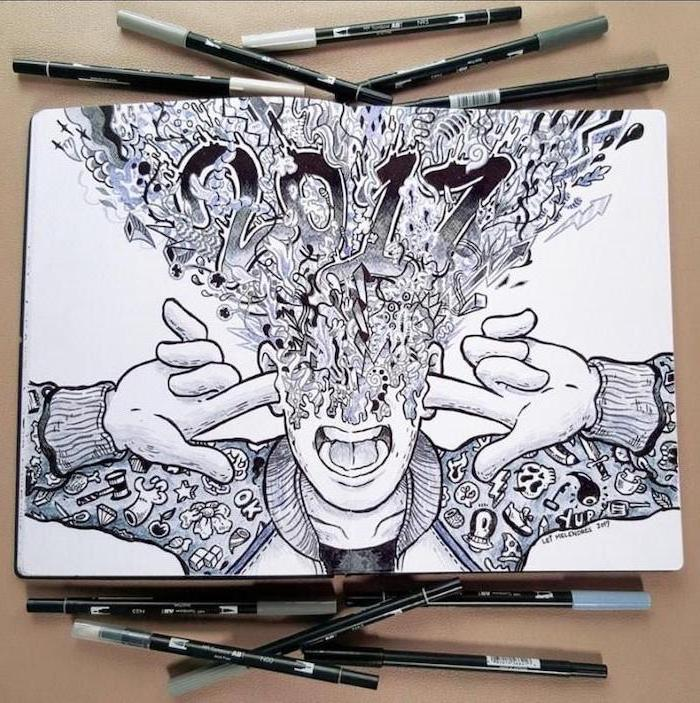 man with exploding brain, doodle art, cute simple drawings, black and white, pencil sketch