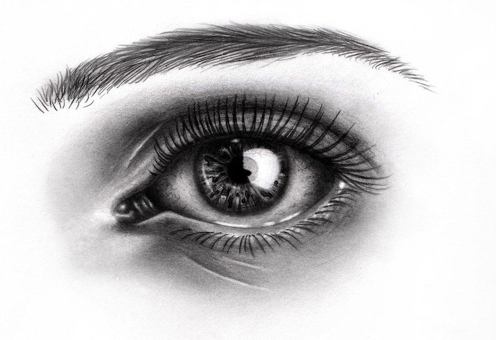 cute simple drawings, teary eye, black and white, pencil sketch
