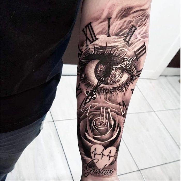 roman numeral tattoo ideas, white tiled floor, large eye and clock, forearm tattoo