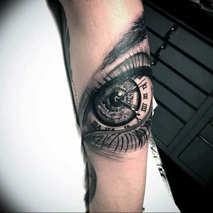 eye and a clock, side arm tattoo, roman numeral tattoos meaning, white background