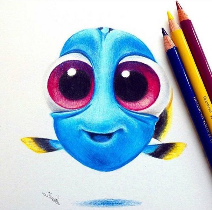 easy things to draw step by step, finding dory inspired, coloured pencils sketch, blue fish
