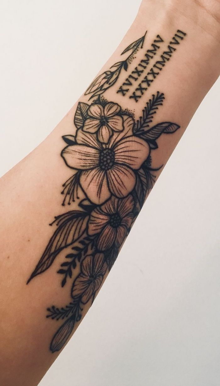 flowers forearm tattoo, roman numeral tattoos meaning, white background