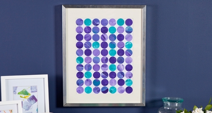 framed white canvas, blue and purple circles, arranged symmetrically, canvas art ideas
