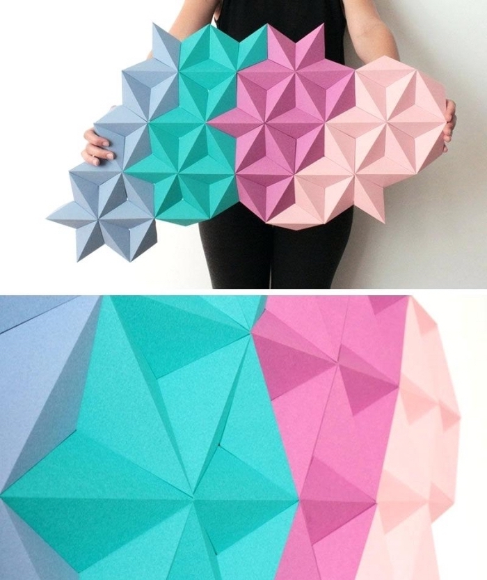 geometrical design, paper stars, glued together, canvas art ideas, pink turquoise and purple paint