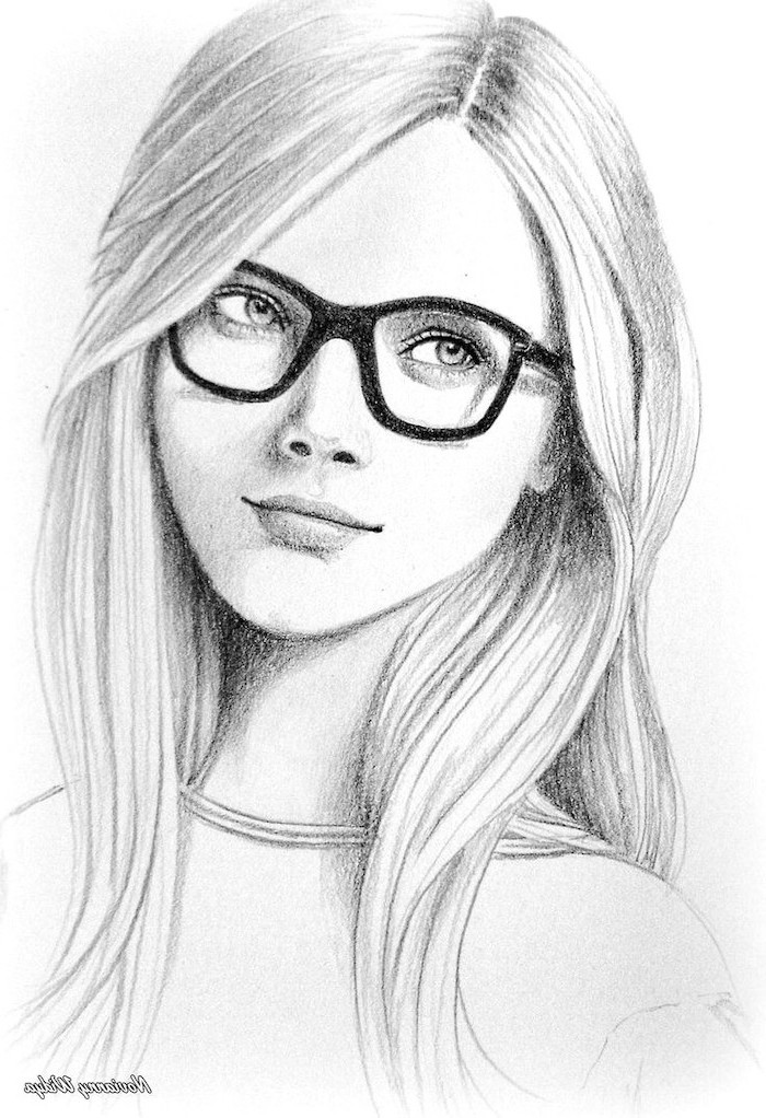 girl with glasses, long hair, black and white, pencil sketch, easy things to draw when your bored