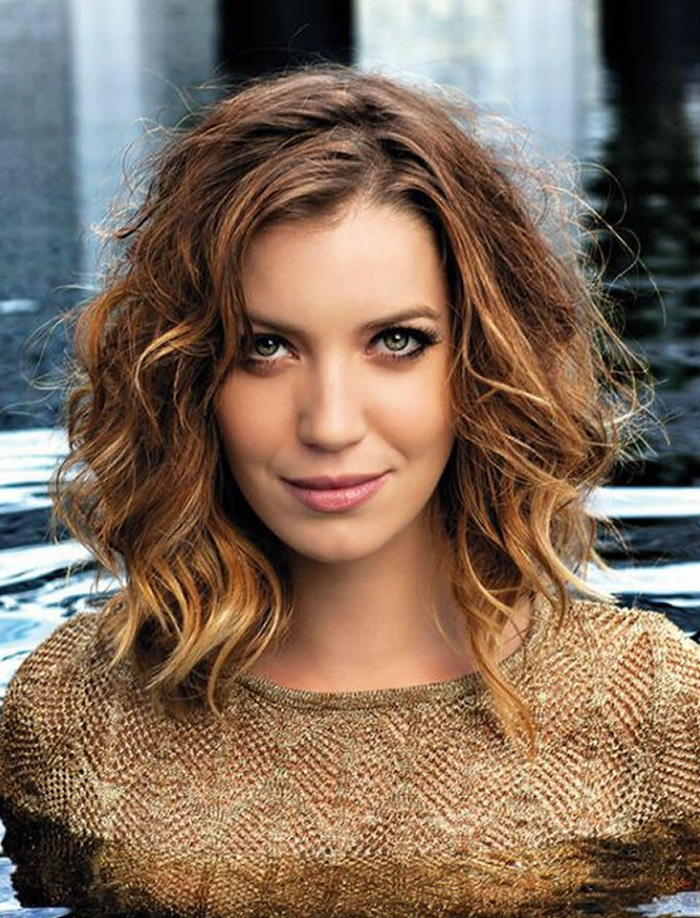 brown curly hair, with highlights, gold top, easy hairstyles for short hair, woman in water