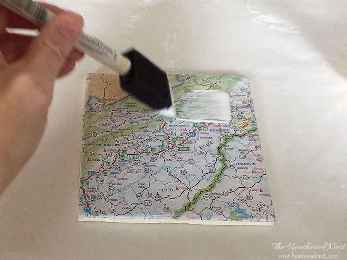 mod podge, gifts for new homeowners, diy map coasters, step by step, diy tutorial