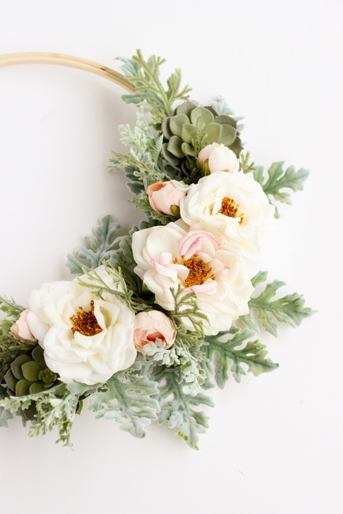 flower wreath, made out of greenery and flowers, bedroom wall decor ideas, step by step, diy tutorial